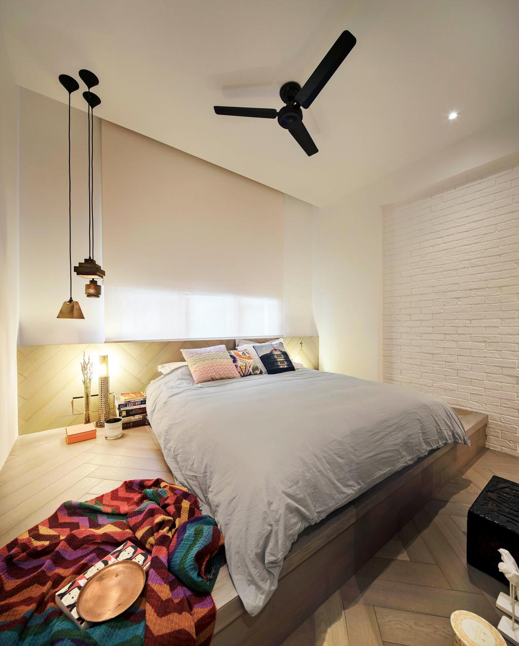 Minimalist, Condo, Bedroom, Mono Apartment, Architect, UPSTAIRS_, Contemporary, Lamp, Indoors, Interior Design, Room, Bed, Furniture