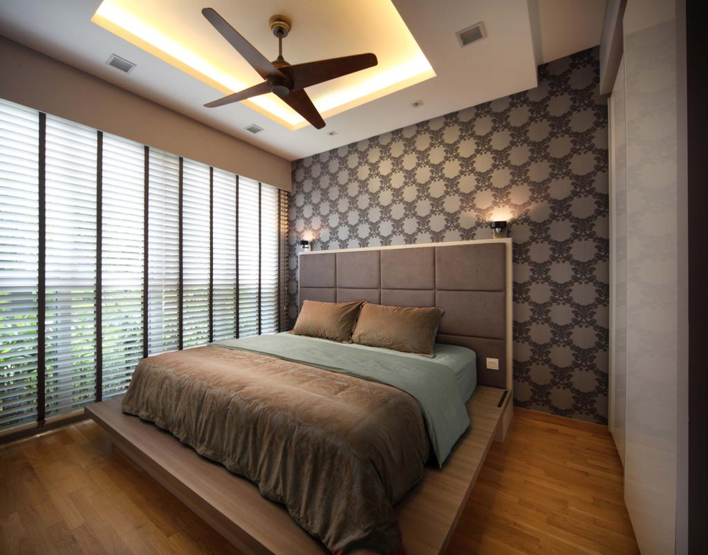 Contemporary, Condo, Bedroom, Scala, Interior Designer, Yonder, Head Board, Wall Paper, Blinds, Platform, Wood Floor, Wardrobe, Ceiling Fan, Cove Light, Down Light, Indoors, Interior Design, Room, Bed, Furniture