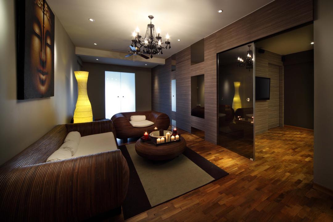 Bukit Merah, Yonder, Traditional, Living Room, HDB, Hanging Lights, Down Light, Parquet, Sofa, Art Piece, Sliding Door, Curtain, Display, Couch, Furniture, Indoors, Room