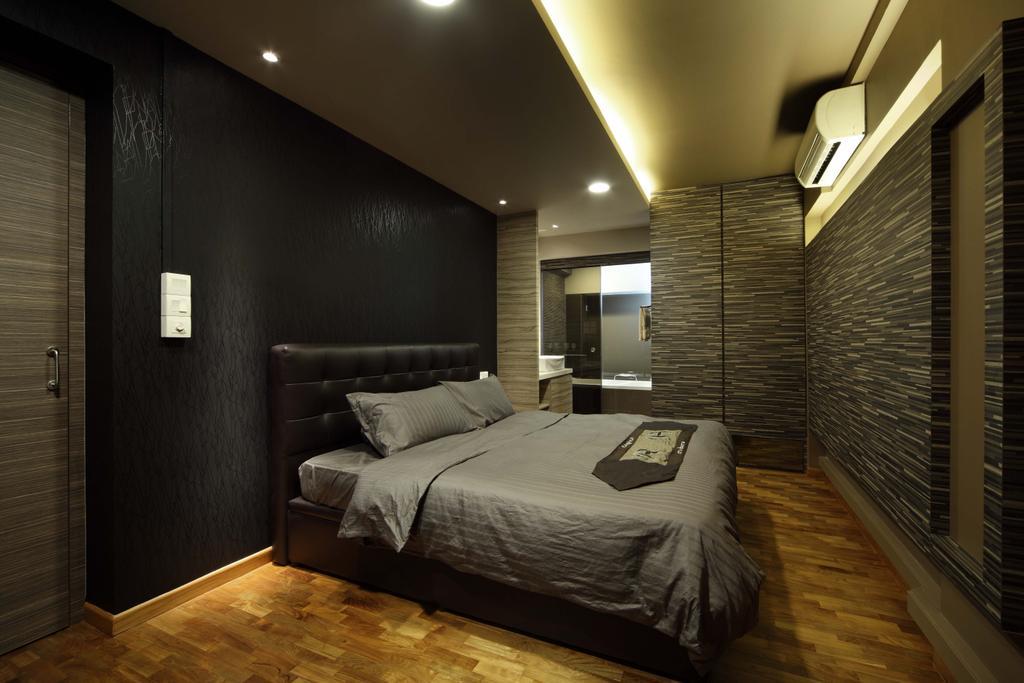 Traditional, HDB, Bedroom, Bukit Merah, Interior Designer, Yonder, Cove Light, Down Light, Bed, Parquet, Toilet, Brick Wall, Textured Wall, Lighting, Furniture, Indoors, Interior Design, Room