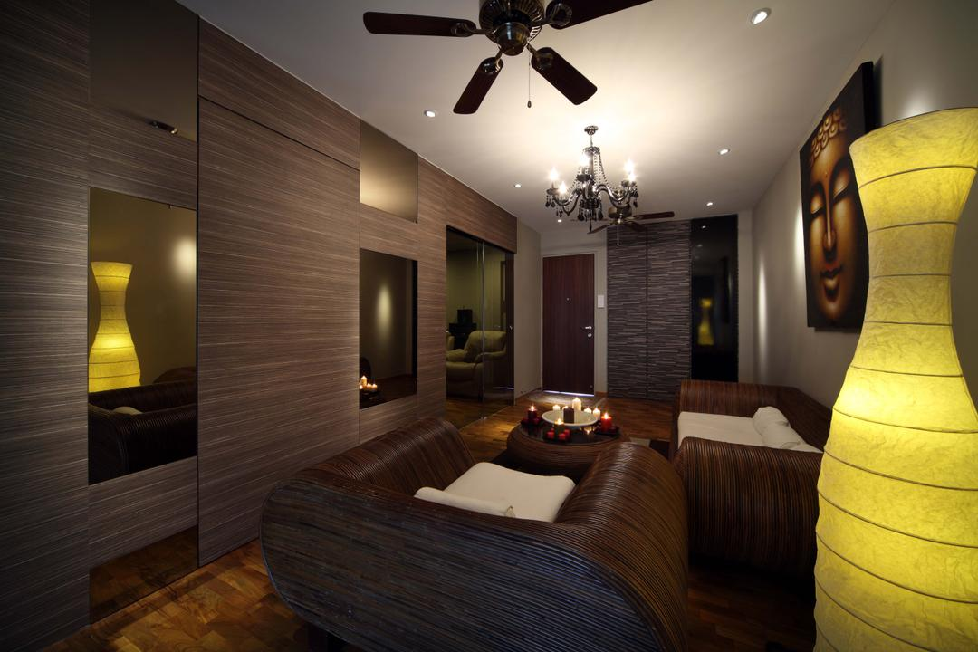 Bukit Merah, Yonder, Traditional, Living Room, HDB, Ceiling Fan, Hanging Lights, Standing Light, Sofa, Coffee Table, Parquet, Display, Bedroom, Indoors, Interior Design, Room