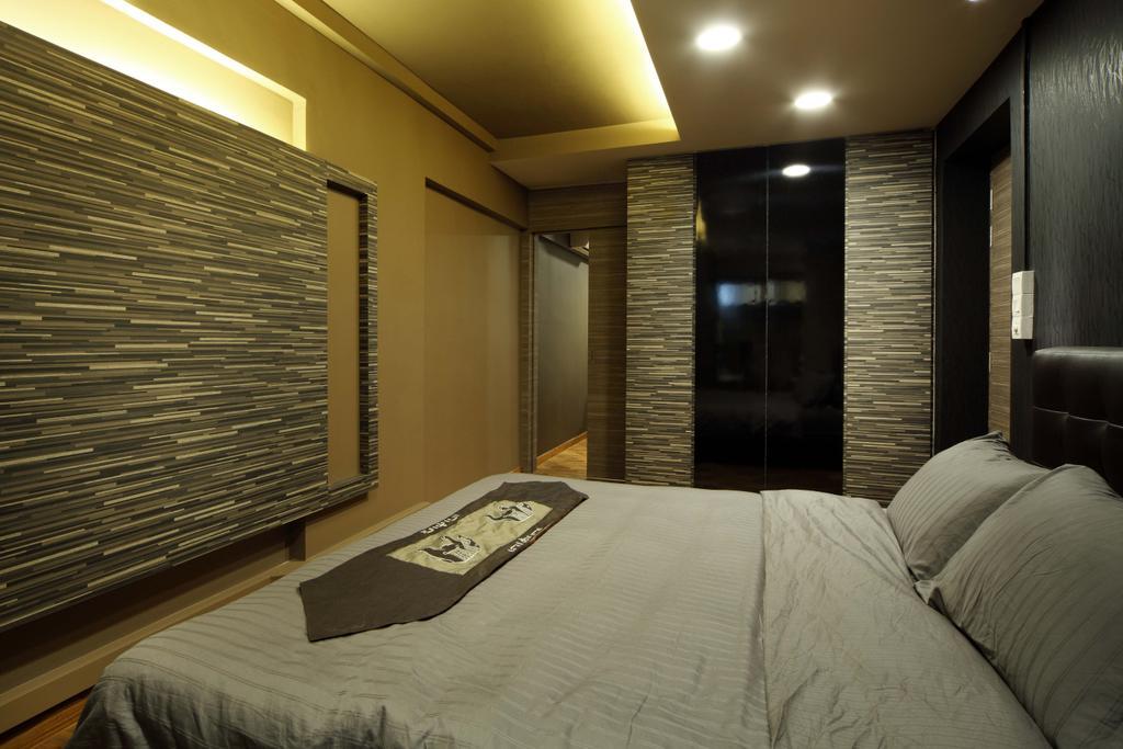 Traditional, HDB, Bedroom, Bukit Merah, Interior Designer, Yonder, Bed, Feature Wall, Textured Wall, Brick Wll, Wardrobe, Cove Light, Down Light, Furniture