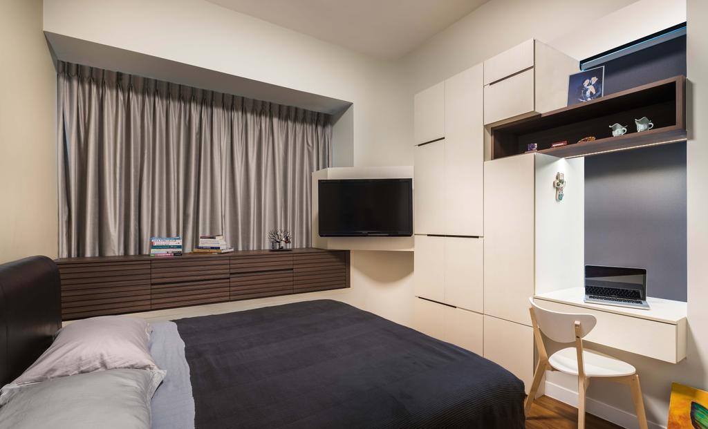 Traditional, Condo, Bedroom, D' Leedon, Interior Designer, Yonder, Tv, Wardrobe, Cupboard, Curtain, Storage, Shelving, Desk, Chair, Bed, Indoors, Room, Interior Design