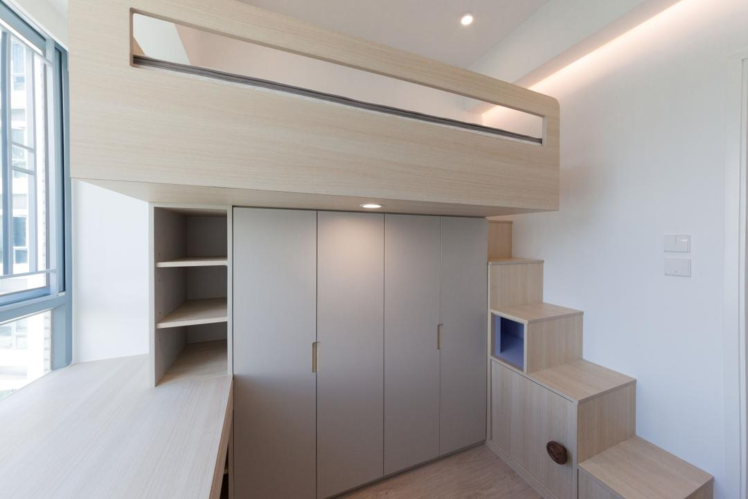 嘉華星濤灣, monoo interior Limited, 簡約, 當代, 睡房, 私家樓, Platform Bed, Loft, Stairs, Kids Room, Kids Room, Workspace, Indoors, Interior Design, Plywood, Wood