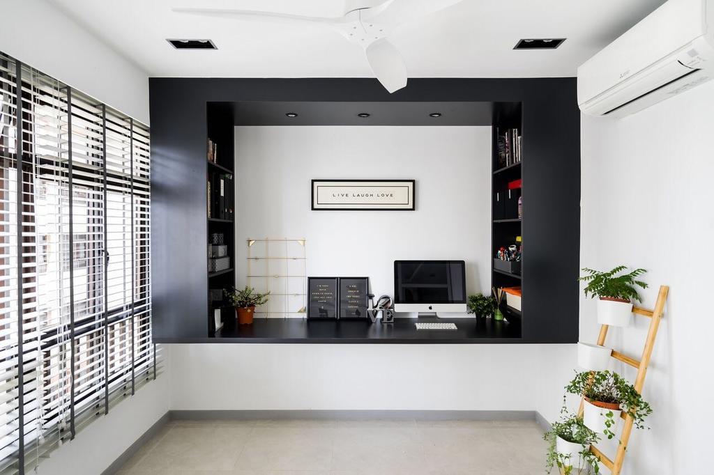 Modern, HDB, Study, Tanglin Halt, Interior Designer, Fineline Design, Flora, Jar, Plant, Planter, Potted Plant, Pottery, Vase