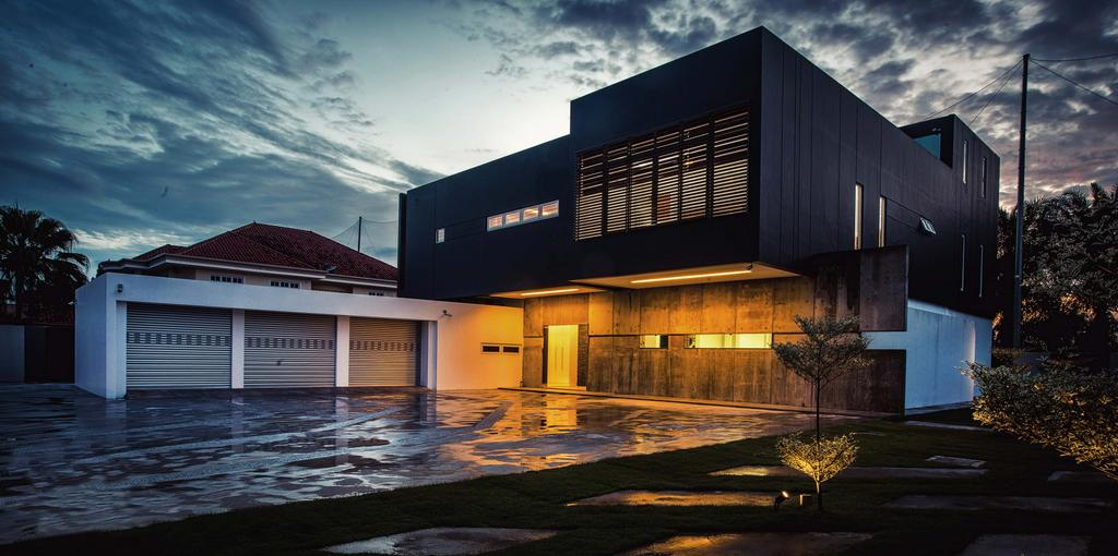 Modern, Landed, Haven @ Kulai, Architect, Code Red Studio, Home Exterior, Exterior, Architecture, Swimming Pool