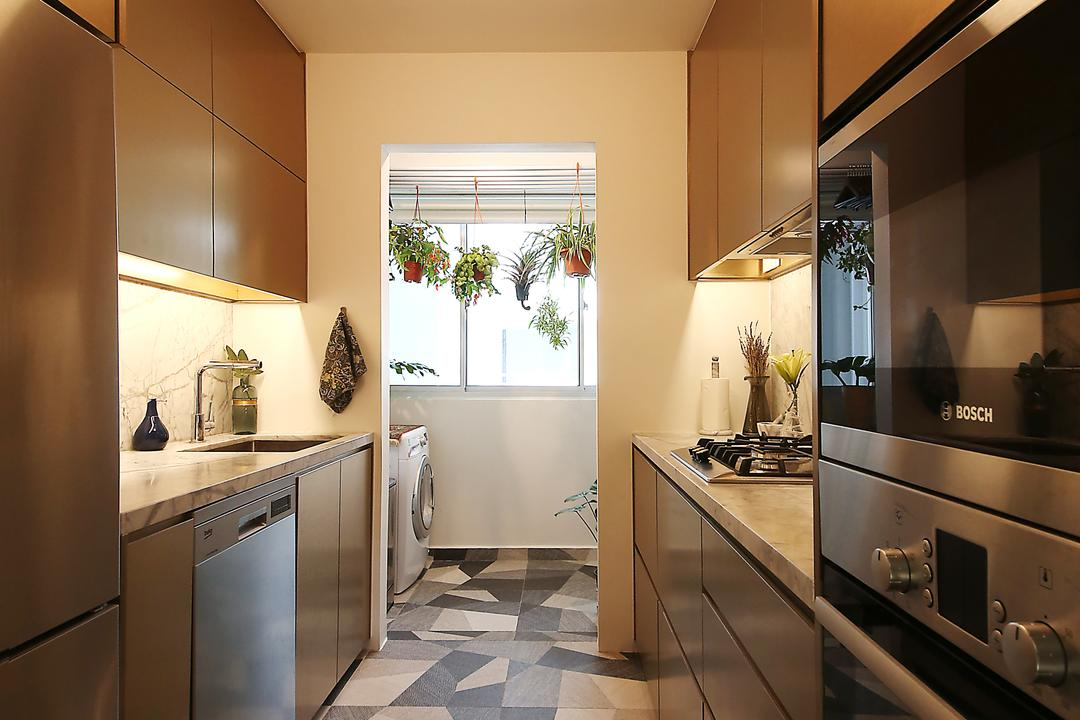 Bendemeer Road, D Initial Concept, Eclectic, Kitchen, HDB, Appliance, Dishwasher, Electrical Device, Curtain, Home Decor, Window, Window Shade, Flora, Jar, Plant, Potted Plant, Pottery, Vase, Indoors, Interior Design