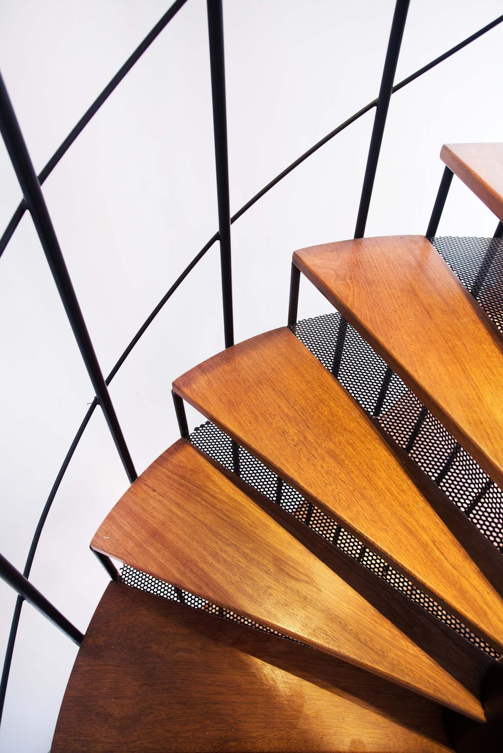 Modern, Landed, Haven @ Kulai, Architect, Code Red Studio, Staircase, Spiral Staircase, Dining Table, Furniture, Table