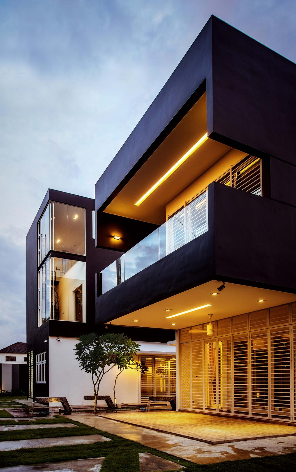 Modern, Landed, Haven @ Kulai, Architect, Code Red Studio, Home Exterior, Exterior, Architecture, Balcony, Building, Housing