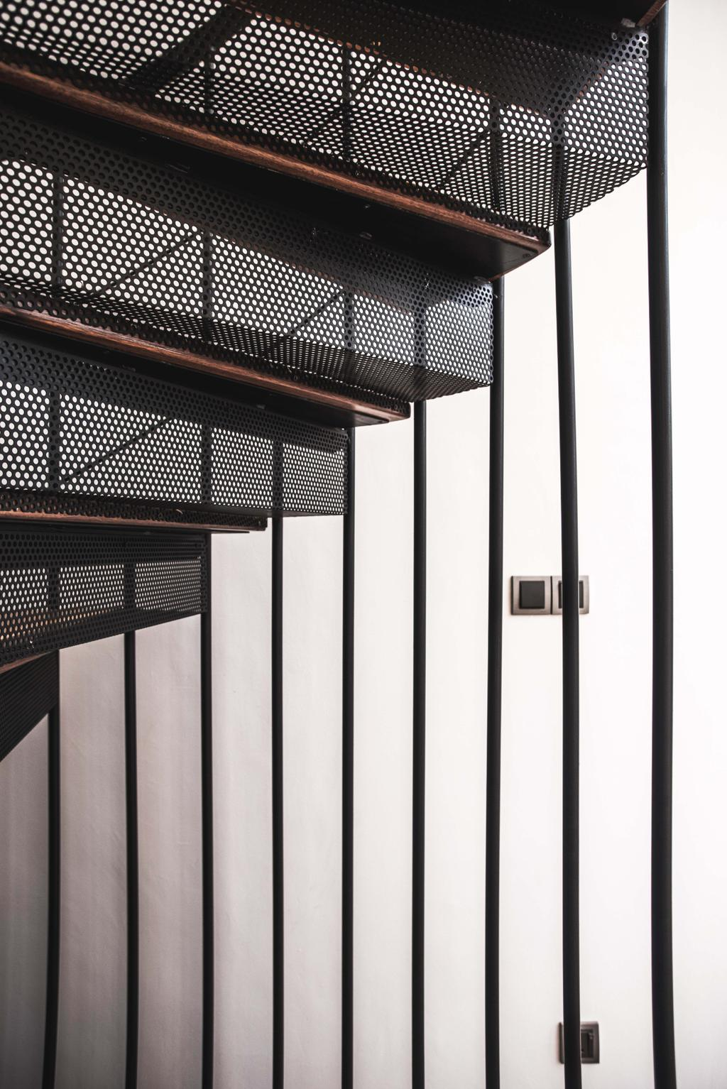 Modern, Landed, Haven @ Kulai, Architect, Code Red Studio, Staircase, Spiral Staircase, Lines
