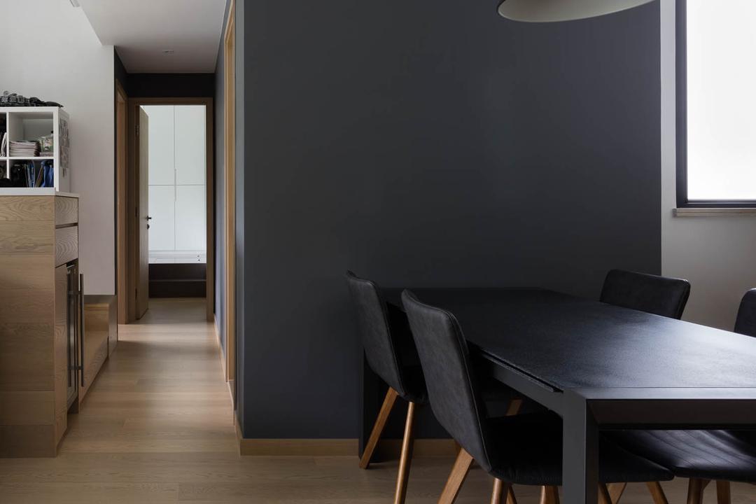玖瓏山, Fixonic Interior Design & Construction, 北歐, 飯廳, 私家樓, Monochrome, Black And White, Dark Grey, Grey, Chair, Furniture, Bar Stool, Dining Table, Table