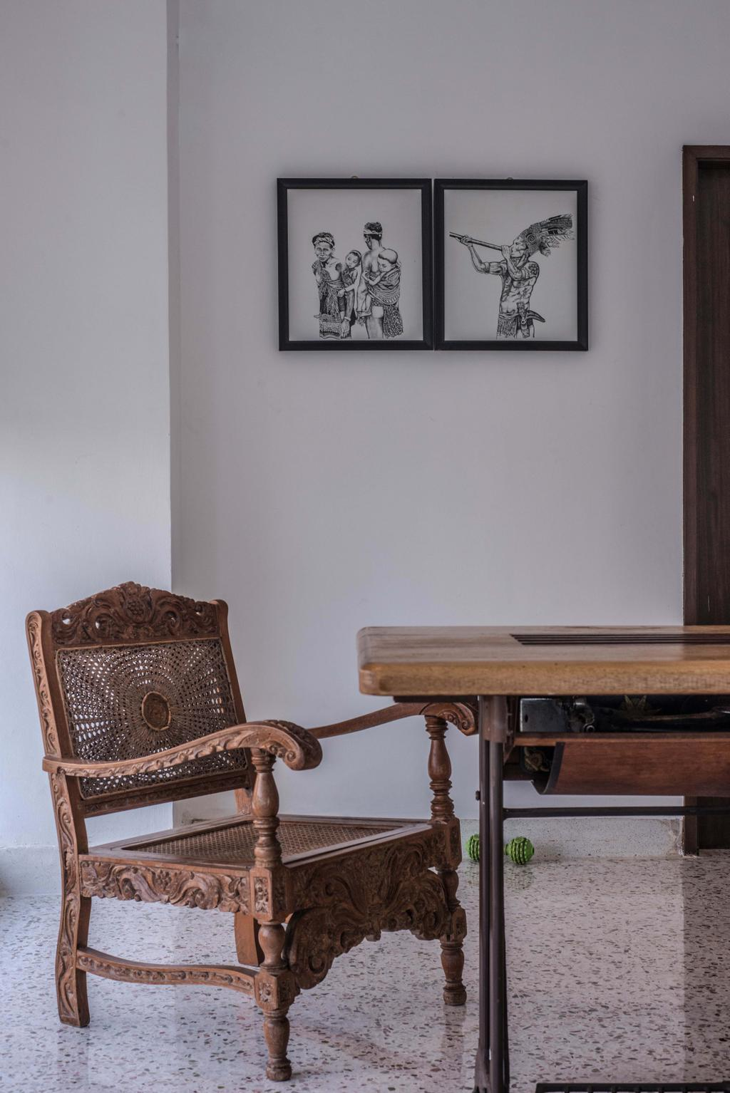 Vintage, Landed, Dining Room, Tasek House, Architect, Code Red Studio, Wood, Brown, Antique, Oriental, Wall Art, Wall Decor, Wall Frames, Photo Frames, Chair, Furniture