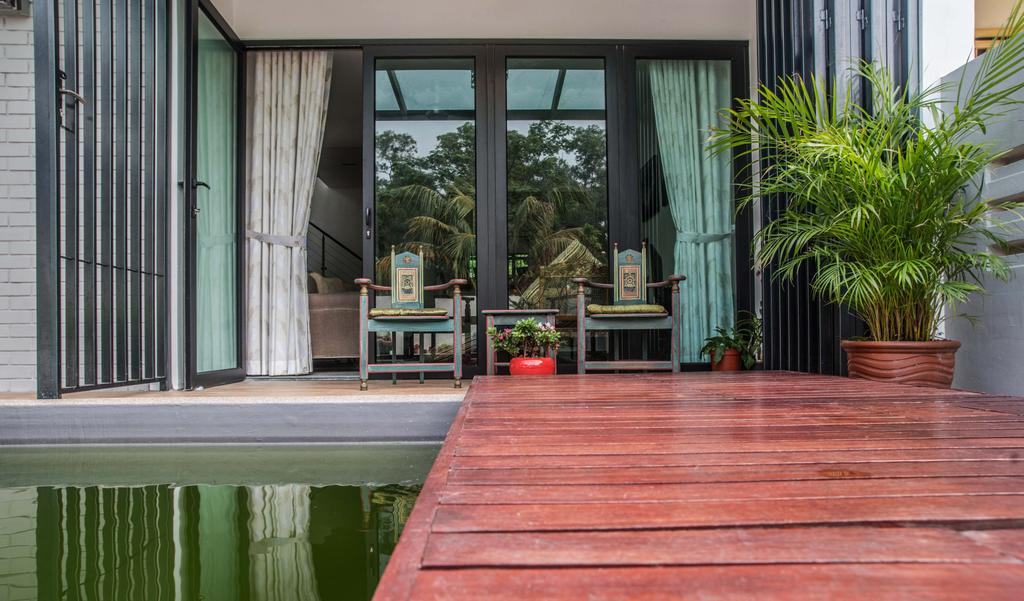 Vintage, Landed, Balcony, Tasek House, Architect, Code Red Studio, Balcony Furniture, Oriental, Potted Plants, Plants, Curtains, Flora, Jar, Plant, Potted Plant, Pottery, Vase, Architecture, Building, Shrine, Temple, Worship, Bamboo
