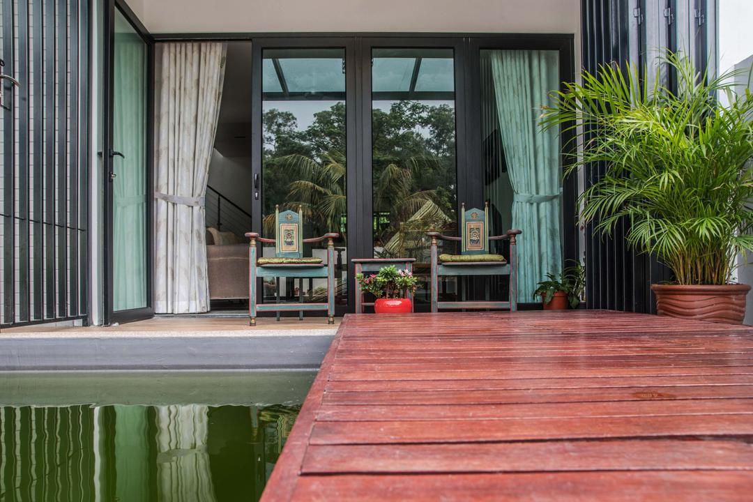 Tasek House, Code Red Studio, Vintage, Balcony, Landed, Balcony Furniture, Oriental, Potted Plants, Plants, Curtains, Flora, Jar, Plant, Potted Plant, Pottery, Vase, Architecture, Building, Shrine, Temple, Worship, Bamboo