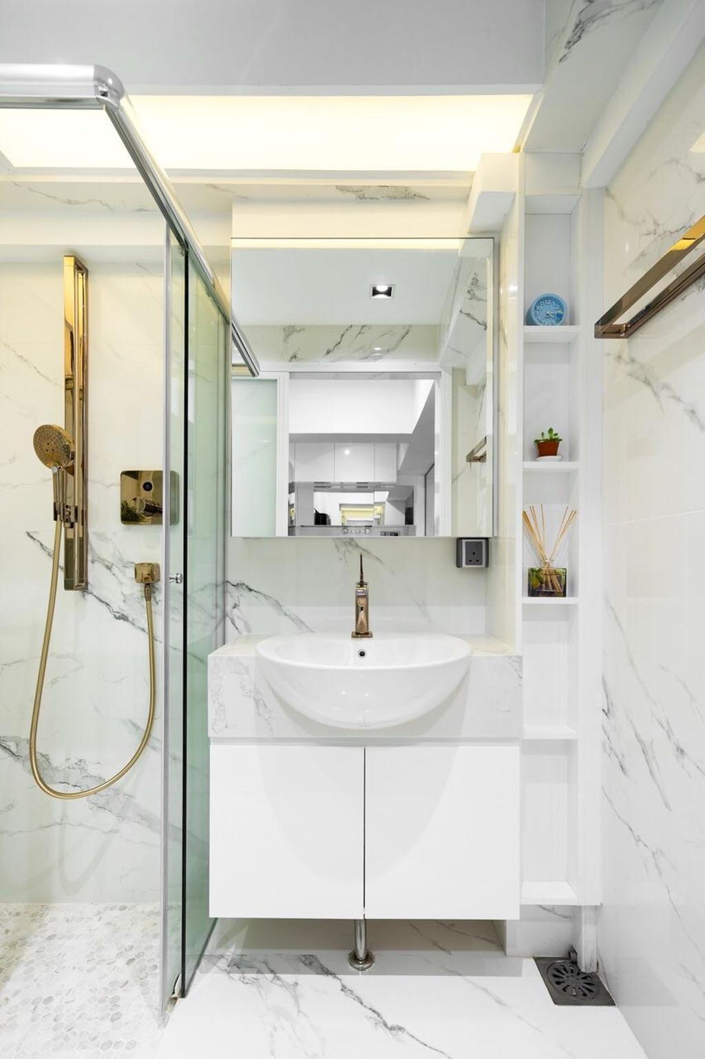 Modern, HDB, Tanglin Halt, Interior Designer, Fineline Design, Bathroom, Indoors, Interior Design, Room, White Board