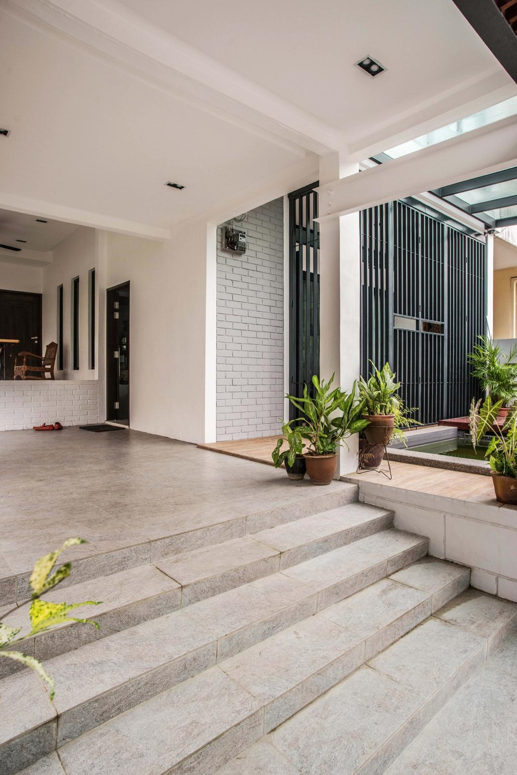 Vintage, Landed, Garden, Tasek House, Architect, Code Red Studio, Home Entrance, Entrance, Staircase, Stairs, Home Exterior, Exterior, Flora, Jar, Plant, Potted Plant, Pottery, Vase