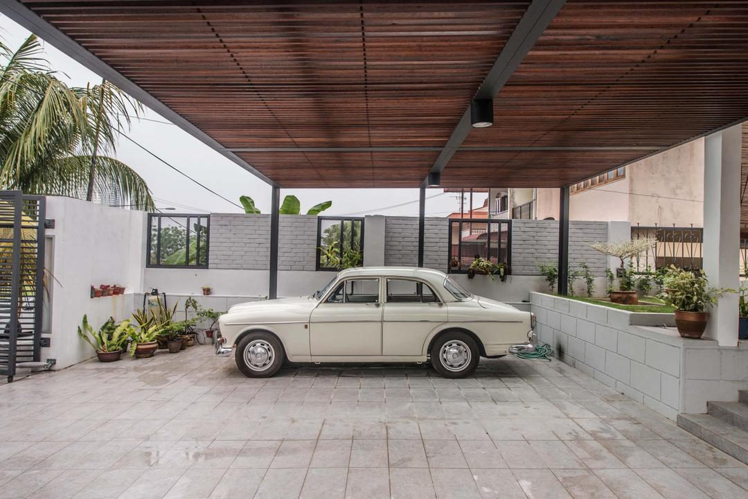 Tasek House, Code Red Studio, Vintage, Landed, Porch, Home Exterior, Exterior, Car, Brick Walls, Floor Tiles, Garden, Nature, Greens, Plants, Trees, Flora, Jar, Plant, Potted Plant, Pottery, Vase, Automobile, Sedan, Transportation, Vehicle, Coupe, Sports Car