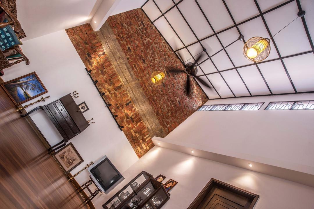 Tasek House, Code Red Studio, Vintage, Living Room, Landed, Ceiling Beams, Wooden Beams, Brick Walls, Rustic, Wood, Oriental, High Ceiling, Indoors, Interior Design