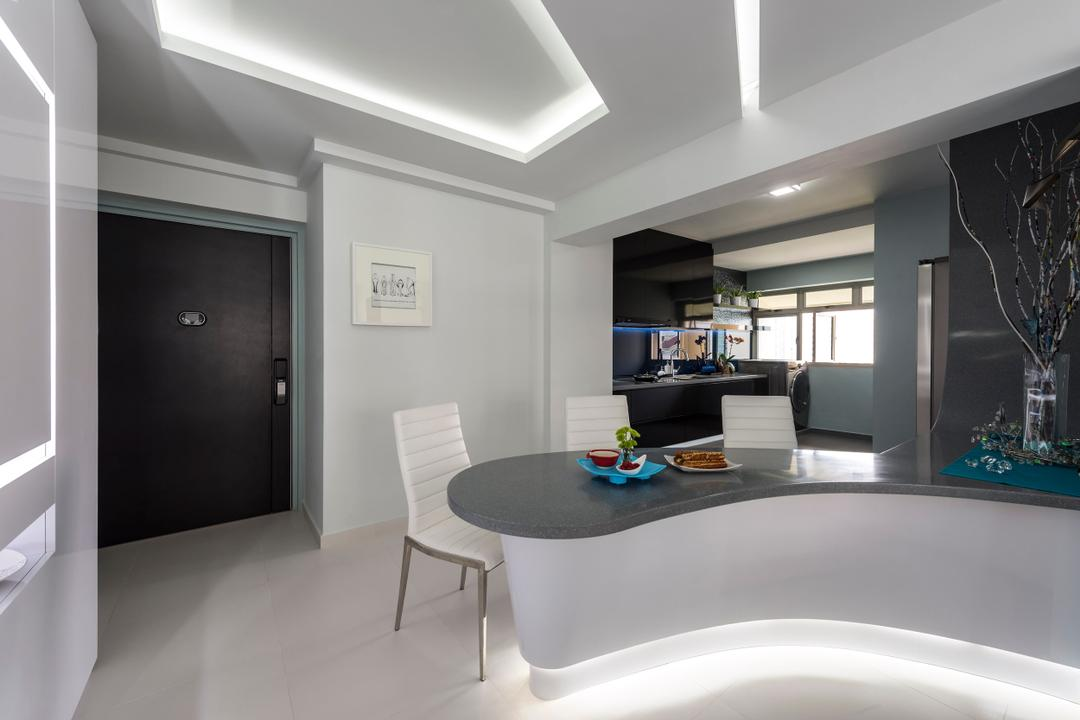 Strathmore Avenue, Ciseern, Traditional, Living Room, HDB, Modern, White, Cove Ight, Curve Table, Dining Table, Dining Chairs, Tiles, Chair, Furniture, Building, Housing, Indoors, Loft