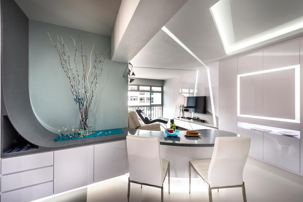 Traditional, HDB, Dining Room, Strathmore Avenue, Interior Designer, Ciseern, Cove Light, White, Modern, Dining Table, Cabinets, Drawers, Tiles, Tv, Chair, Furniture, Indoors, Interior Design, Table
