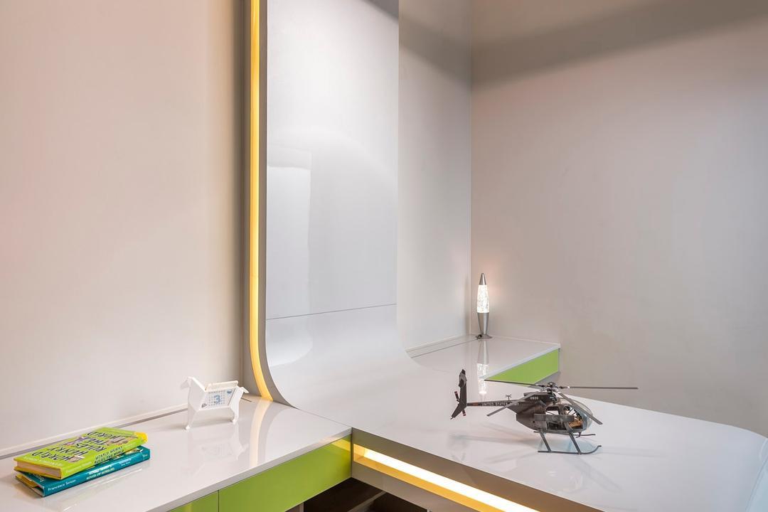 Cabana, Ciseern, Modern, Study, Landed, Study Desk, Wood Floor, Green Carpet, Hanging Lights, Aircraft, Helicopter, Transportation