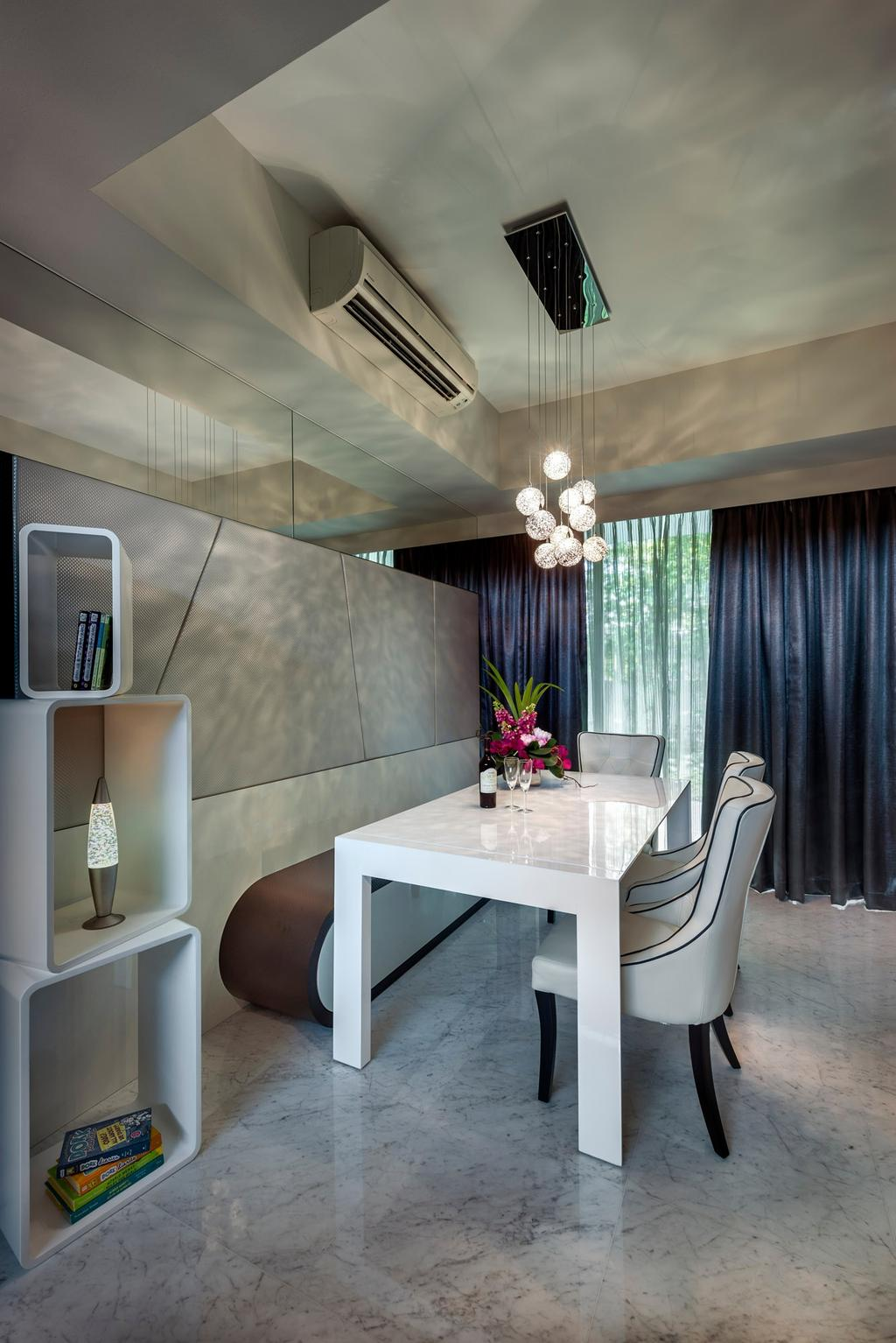 Modern, Landed, Dining Room, Cabana, Interior Designer, Ciseern, Dining Table, Dining Chairs, Dining Bench, Dining Lights, Curtain, Display Cube, Tiles, Furniture, Table, Sink, Indoors, Interior Design, Room