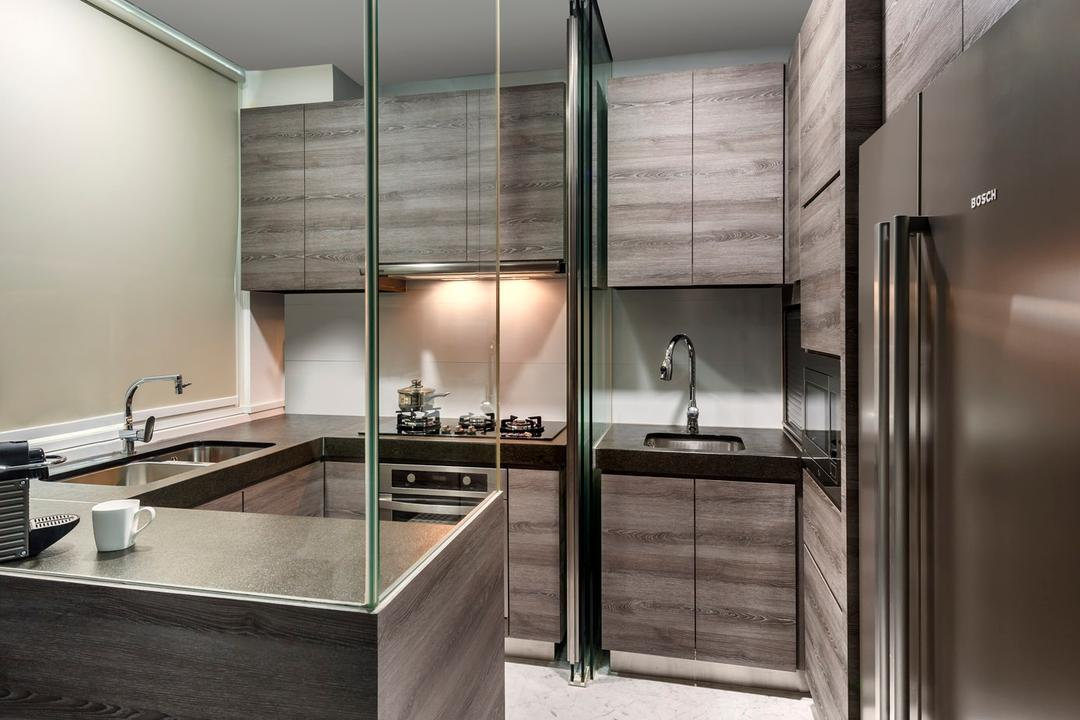 Cabana, Ciseern, Modern, Kitchen, Landed, Glass Window, Wood Cabinets, Sink, Fridge, Down Light, Tiles, Indoors, Interior Design
