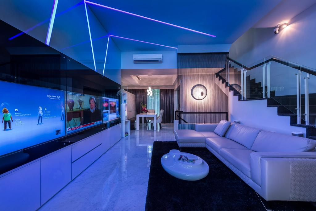 Modern, Landed, Living Room, Cabana, Interior Designer, Ciseern, Sofa, Stairs, Carpet, Coffee Table, Feature Wall, Futuristic, Drawers, Indoors, Interior Design, Balcony
