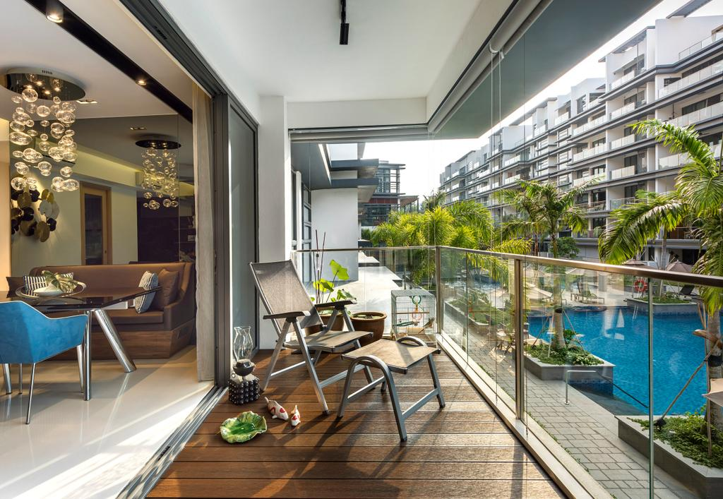 Contemporary, Condo, Balcony, Hedges Park, Interior Designer, Ciseern, Dining Table, Furniture, Table, Pool, Water, Chair