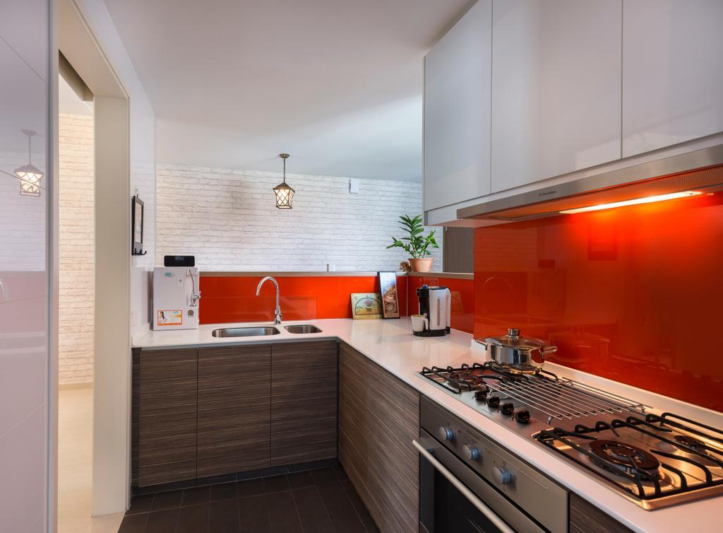 Modern, Condo, Kitchen, The Minton, Interior Designer, Ciseern, Hood, Stove, Cabinets, Sink, Tap, Hanging Light, Brick Wall, Indoors, Interior Design, Room