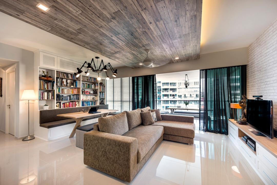 The Minton, Ciseern, Modern, Living Room, Condo, Wood Ceiling, Cove Light, Brick Wall, Sof, L Shaped Sofa, Tiles, Industrial, Curtain, Ining Lights, Book Shelves, Couch, Furniture, Indoors, Interior Design