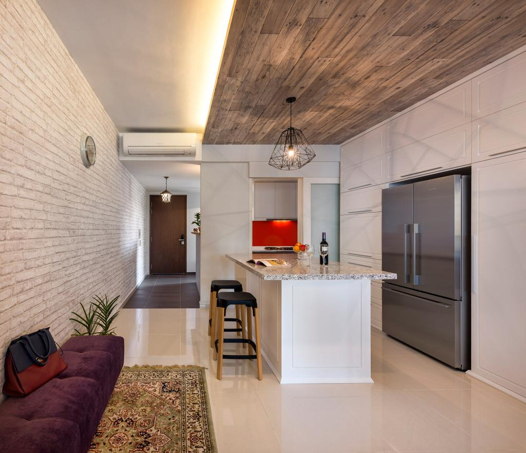 Modern, Condo, Kitchen, The Minton, Interior Designer, Ciseern, Dry Kitchen, Fridge, Carpet, Sofa Bench, Stool, Brick Wall, Wood Ceiling, Cove Light, Hanging Light, Aircon, Tiles, Bar Stool, Furniture, Flora, Jar, Plant, Potted Plant, Pottery, Vase, Indoors, Interior Design