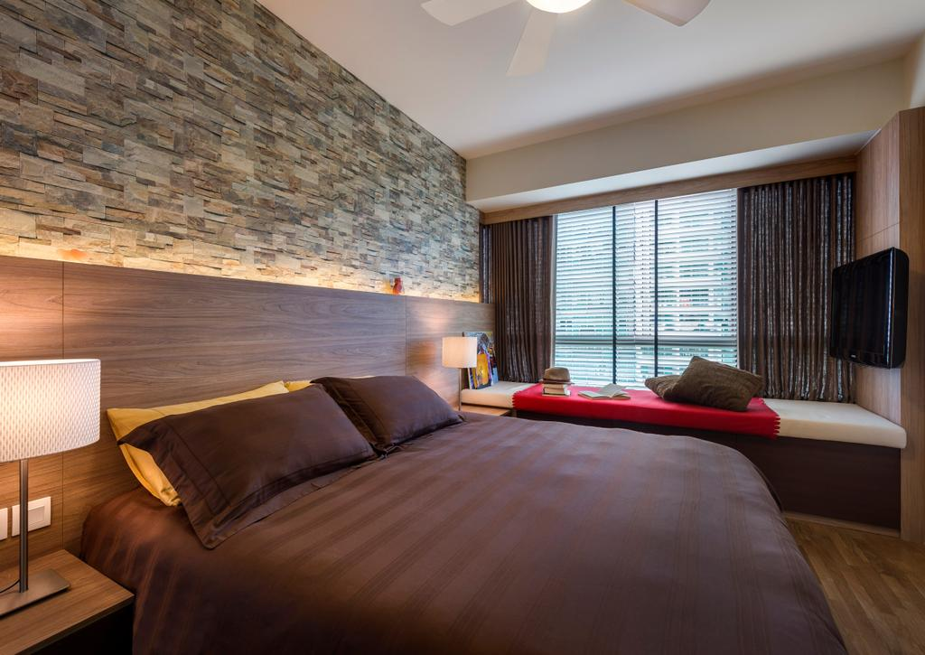 Modern, Condo, Bedroom, The Minton, Interior Designer, Ciseern, Textured Wall, Brick Wall, Wood Bed Frame, Bed, Bed Fram, Bay Windows, Curtains, Side Lights, Bedside Light, Blinds, Cushions, Tv, Lamp, Table Lamp, Indoors, Interior Design, Room