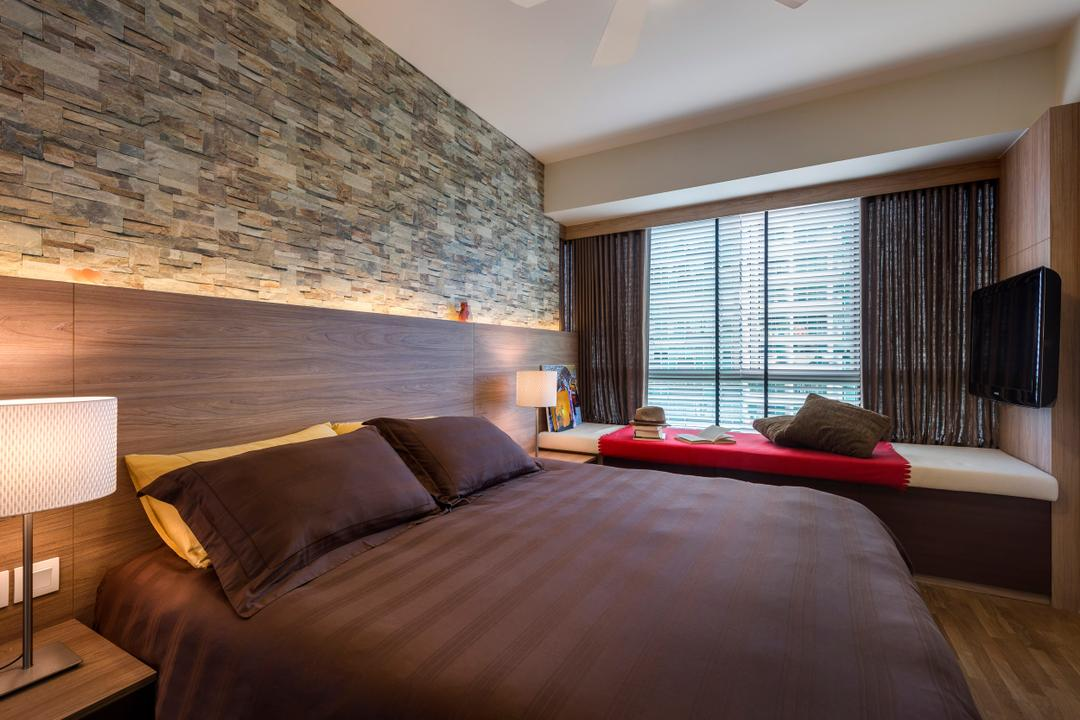 The Minton, Ciseern, Modern, Bedroom, Condo, Textured Wall, Brick Wall, Wood Bed Frame, Bed, Bed Fram, Bay Windows, Curtains, Side Lights, Bedside Light, Blinds, Cushions, Tv, Lamp, Table Lamp, Indoors, Interior Design, Room
