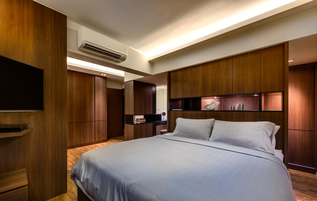 Contemporary, HDB, Bedroom, Punggol Waterway Terraces, Interior Designer, Ciseern, Cove Light, Aircon, Bed, Partition, Wood, Tv, Feature Wall, Wardrobe, Wood Floor, Furniture, Indoors, Room