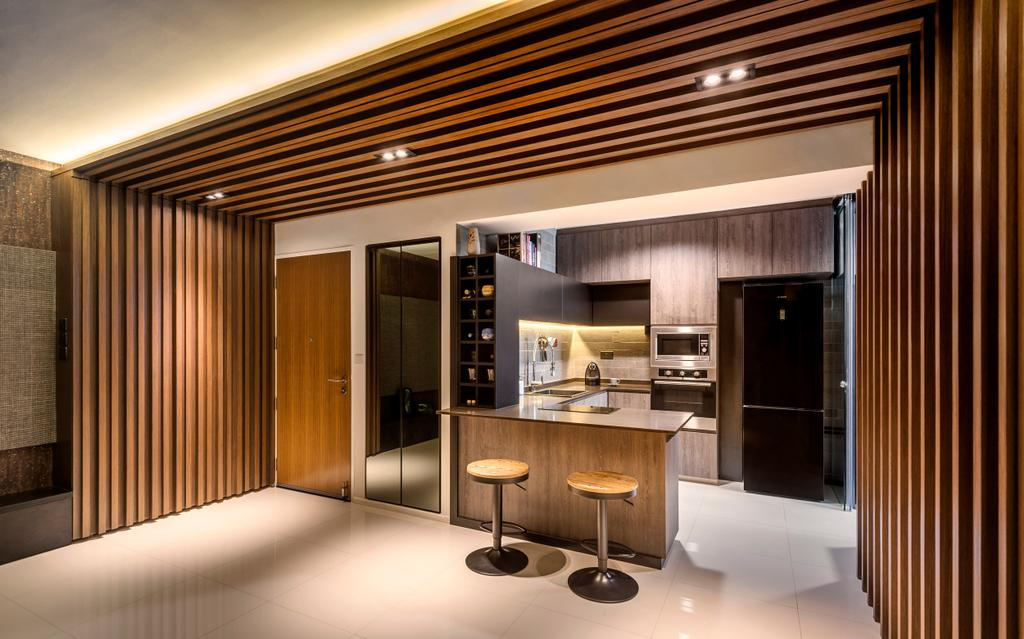 Contemporary, HDB, Dining Room, Punggol Waterway Terraces, Interior Designer, Ciseern, Wood, Wood Ceiling, Partition, Tiles, Bar, Bar Stool, Dry Kitchen, Indoors, Interior Design, Kitchen, Room