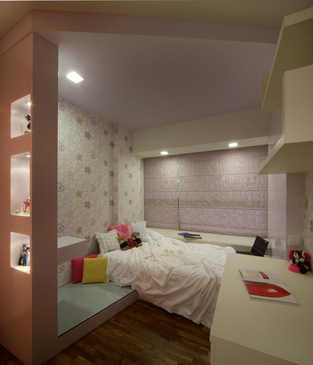 Transitional, Condo, Bedroom, Calrose, Interior Designer, Yonder, Study Desk, Shelving, Bed, Wall Paper, Partition, Disolay, Down Light, Blinds, Parquet, Molding, Indoors, Interior Design, Room