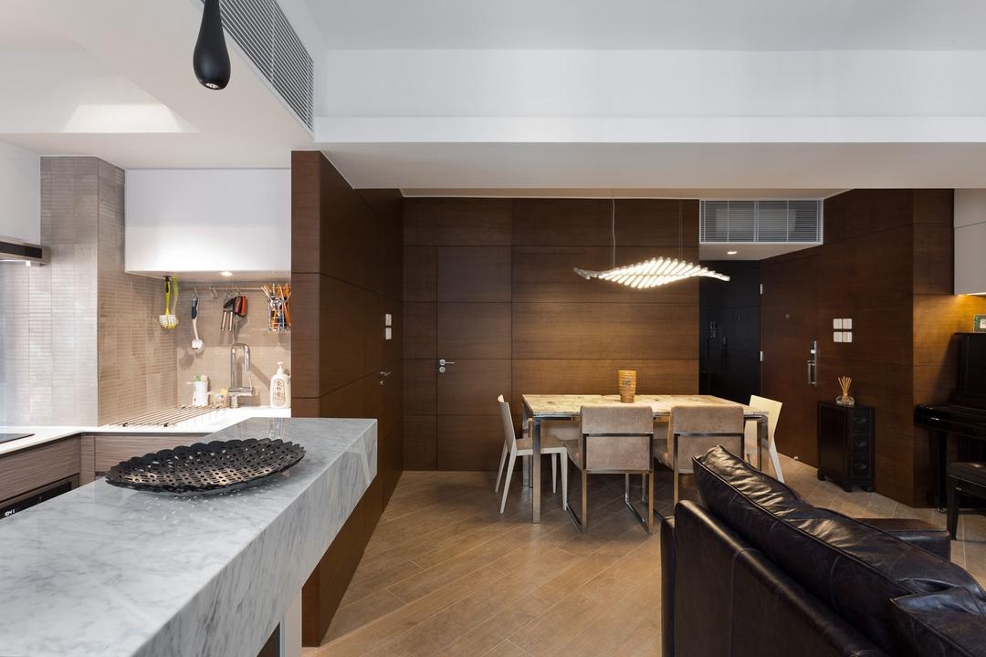 宇宙閣, Fixonic Interior Design & Construction, 飯廳, 私家樓, Dark Wood, Moody, Chair, Furniture, Indoors, Interior Design, Flooring