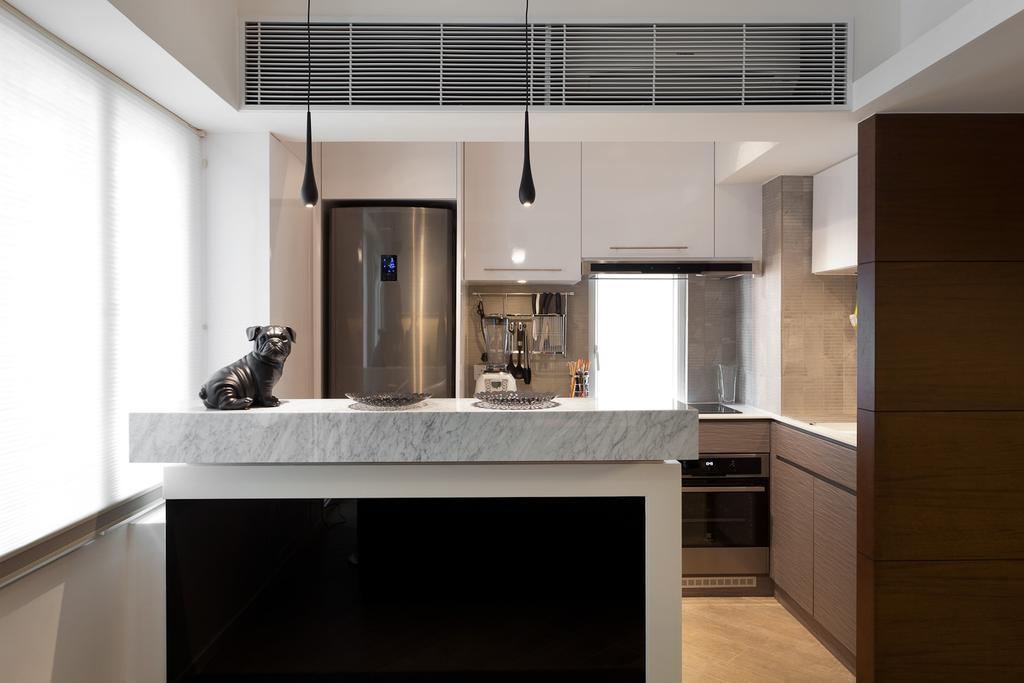 私家樓, 廚房, 宇宙閣, 室內設計師, Fixonic Interior Design & Construction, Marble Countertop, Marble Quartz, Quartz, Luxurious, Open Concept, Open Kitchen, Kitchen Island