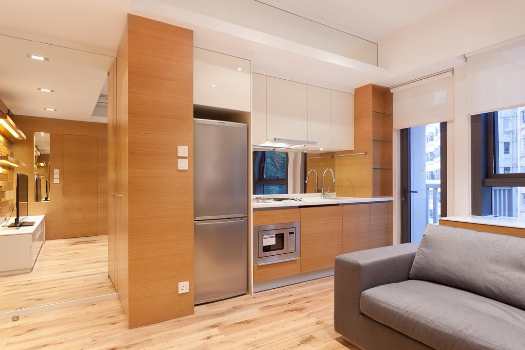 尚巒, Fixonic Interior Design & Construction, 摩登, 客廳, 私家樓, Open Concept, Fridge, Small Kitchen, Open Kitchen, Flooring, Indoors, Interior Design, Couch, Furniture