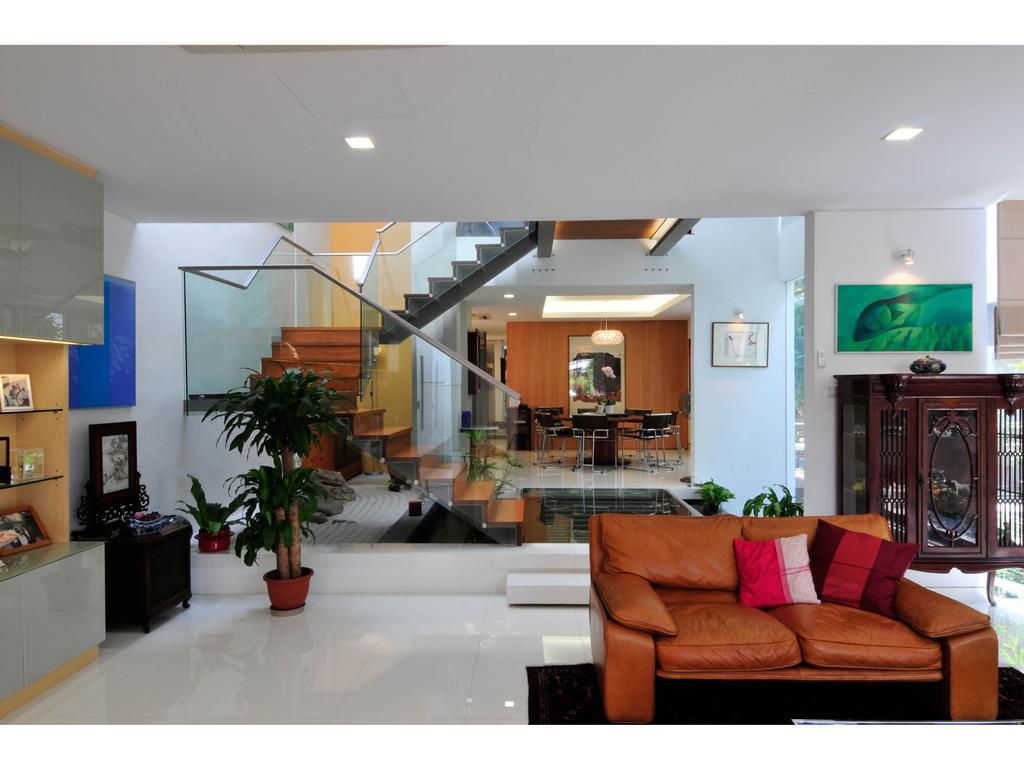 Modern, Landed, Living Room, 25A Dunbar Walk, Architect, TENarchitects, Couch, Furniture, Flora, Jar, Plant, Potted Plant, Pottery, Vase, Indoors, Interior Design