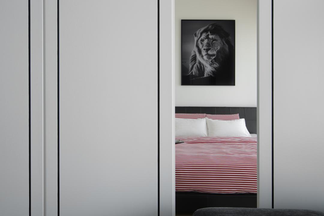 Marine Blue, Prozfile Design, Modern, Bedroom, Condo, Art, Animal, Lion, Mammal, Wildlife