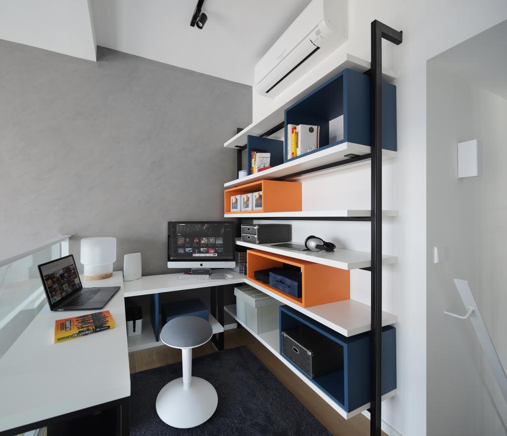 Modern, Condo, Study, Marine Blue, Interior Designer, Prozfile Design, Desk, Furniture, Table, Computer, Electronics, Laptop, Pc