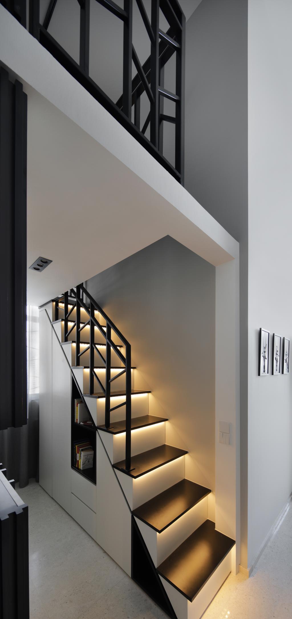 Modern, Condo, Marine Blue, Interior Designer, Prozfile Design, Corridor, Banister, Handrail