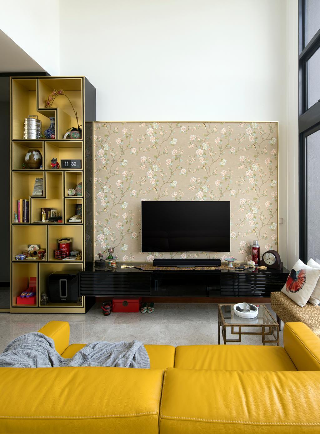 Eclectic, Condo, Living Room, Eco Sanctuary, Interior Designer, Prozfile Design, Retro, Electronics, Entertainment Center, Fireplace, Hearth