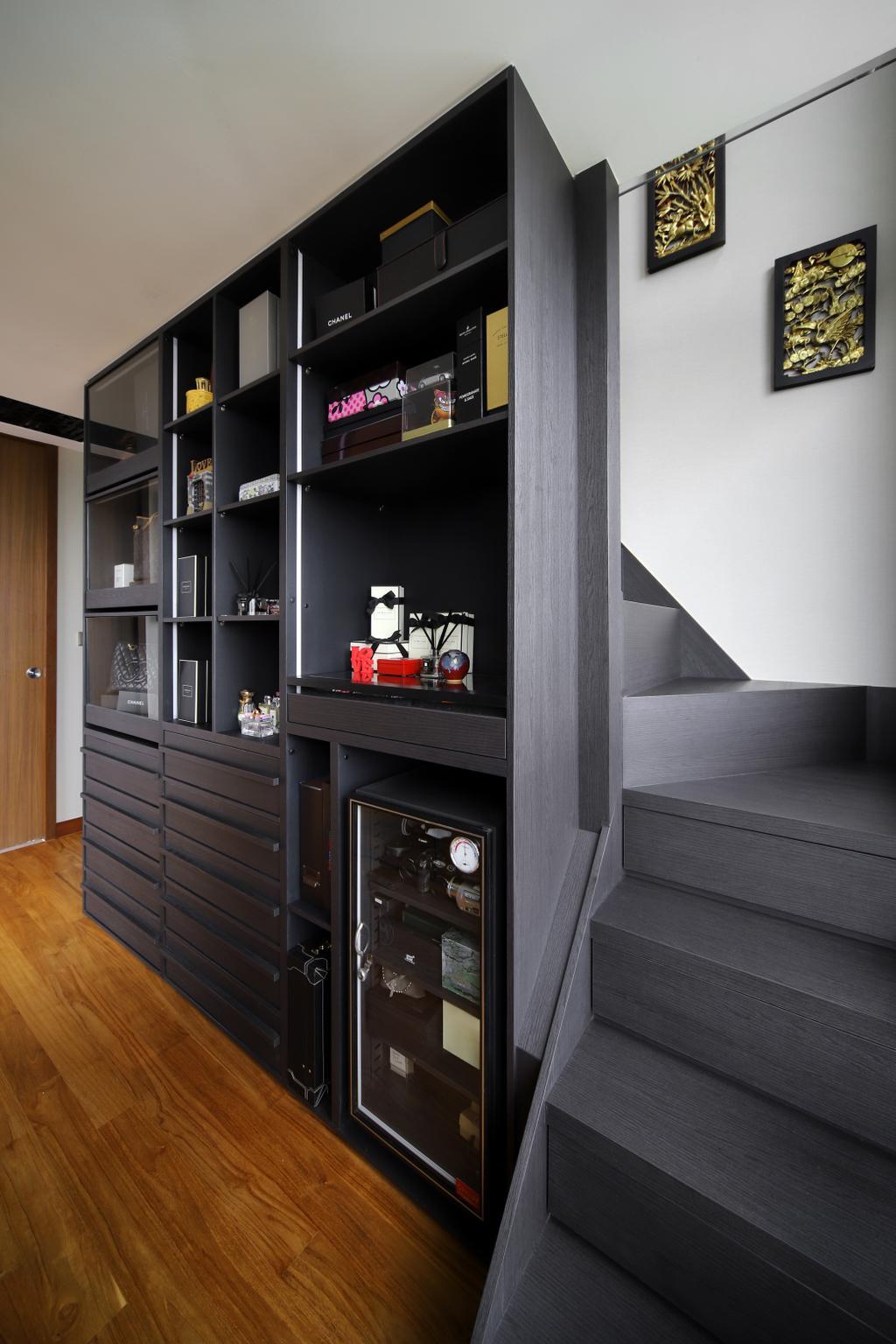 Eclectic, Condo, Eco Sanctuary, Interior Designer, Prozfile Design, Retro, Banister, Handrail, Staircase, Safe