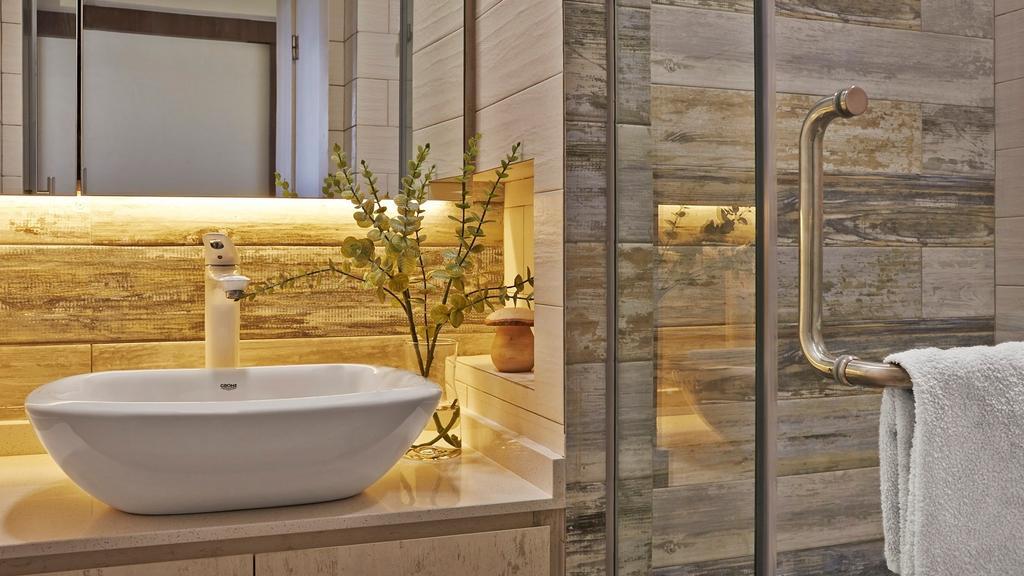 Scandinavian, Condo, Bathroom, Fortune Jade, Interior Designer, Noble Interior Design, Flora, Jar, Plant, Potted Plant, Pottery, Vase, Bathtub, Tub
