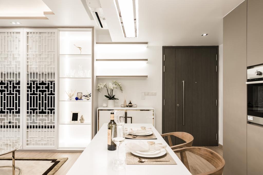 Modern, Condo, Kitchen, Bellewaters, Interior Designer, Mr Shopper Studio, Shelf, Bathroom, Indoors, Interior Design, Room, Plywood, Wood, Dining Room