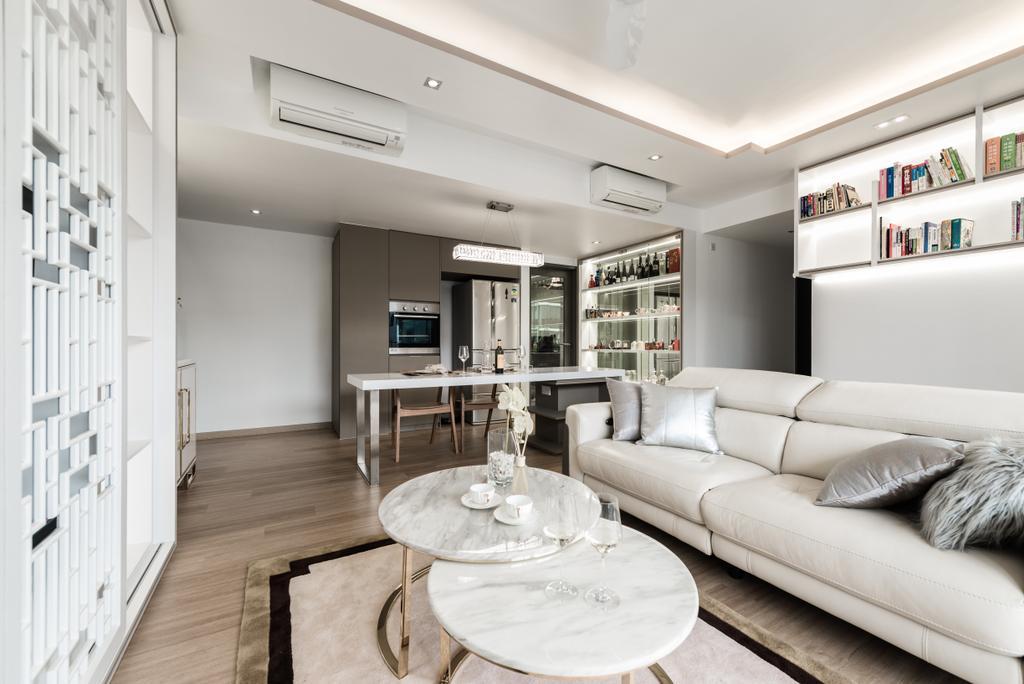 Modern, Condo, Living Room, Bellewaters, Interior Designer, Mr Shopper Studio, Couch, Furniture, Indoors, Interior Design, Kitchen, Room