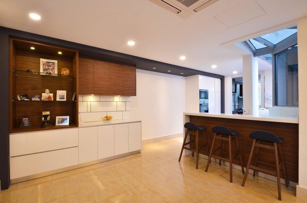 Minimalist, Landed, Dining Room, Villa Aseana, Interior Designer, Mega Fusion Design Studio, Kitchen Island, Chair, Furniture, Dining Table, Table